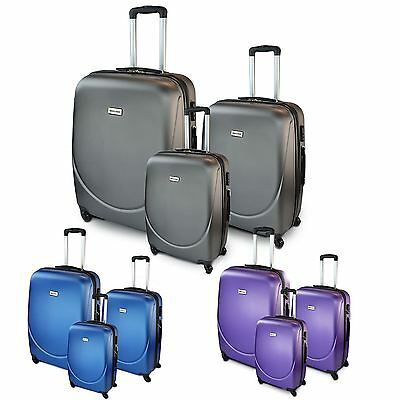 3PC Hard Shell Suitcase Luggage Set 4 Wheeled Trolley ABS Travel Cabin Bag Case