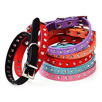 Adjustable Soft Faux Leather Small Dog Puppy Cat Buckle Collar Clear Rhinestone