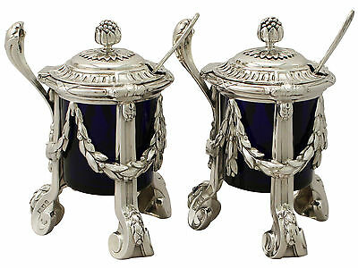 Antique George V, Regency Style Pair of Sterling Silver Mustard Pots