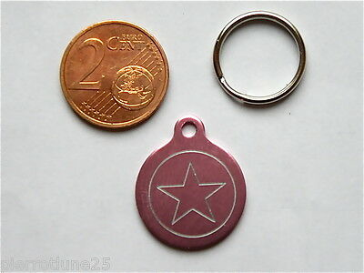 MEDAILLE GRAVEE RONDE ETOILE STAR CHATON CHAT collier medalla cane katze