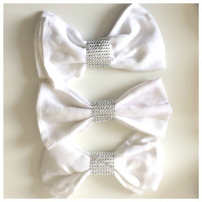 100 x Diamante Mesh Napkin Ring in Silver Perfect for Weddings & Special Events