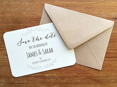 10x Personalised Save The Date Cards Shabby Chic Vintage Rustic