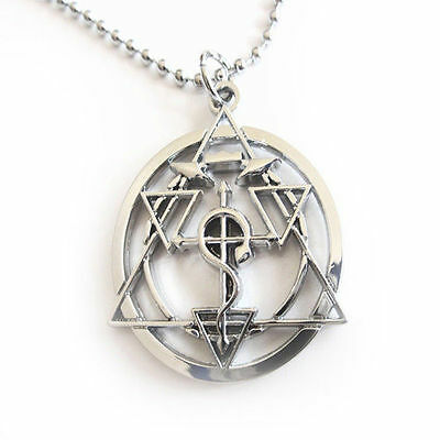 Anime Fullmetal Alchemist Elric Cross Seal Necklace Pendant Chain Cosplay Prop