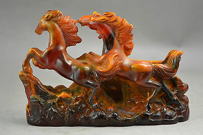 China Handwork Amber Carving 3 Horses Running Noble Statue
