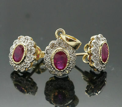 9Ct Yellow Gold Ruby & Diamond Cluster Pendant  & Matching Stud Earrings Set