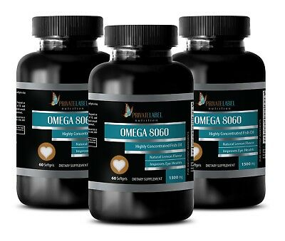 Pure Omega-3 Fish Oil 1500mg Highly Concentrated EPA DHA 180 Softgels 3 Bottles