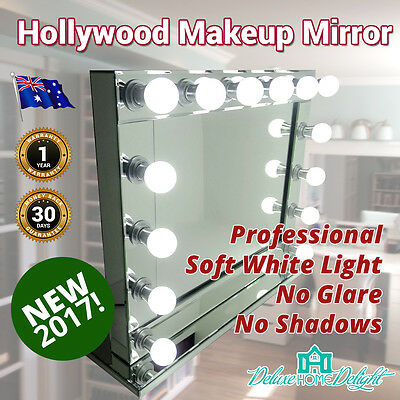 Hollywood Style Vanity & Makeup Mirror 14 Soft LED Lights Professional ALL GLASS