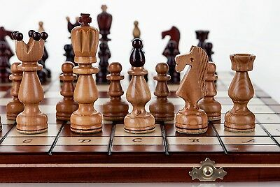 AMBASSADOR - Large 54cm / 21.5in Handcrafted Wooden Chess Set Cherry Tree