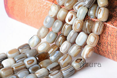 10x14mm Natural Striped Agate Tube Cylinder Oblong Semi Precious Gemstone Beads
