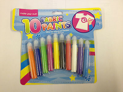 Fabric Paint Pens Permanent T-Shirt Clothes Designs Assorted Colours 1 10 20 New