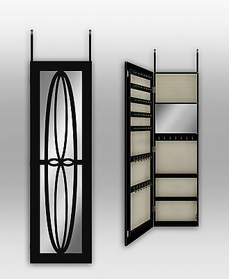 Over The Door/ Wall Mount Jewelry Armoire With Mirror--Black