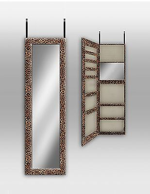 Over The Door/ Wall Mount Jewelry Armoire With Mirror--Cheetah