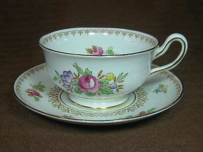 Vtg. 1940s Royal Chelsea 38540 Cup and Saucer Hand Painted Floral Gold Trim