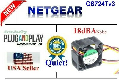 Quiet Version! Netgear GS724Tv3 GS724T v3 1x New Fans, 12dBA Noise Best for Home
