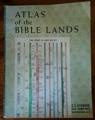 Vintage C.S. Hammond Atlas of the Bible Lands - Palestine - Israel maps 1959