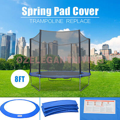 8/10/12FT Replacement Reinforced Round Trampoline Safety Spring Pad Cover AU New