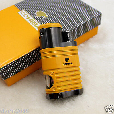 COHIBA YELLOW ZINC ALLOY 4 TORCH JET FLAME CIGAR CIGARETTE LIGHTER With PUNCH