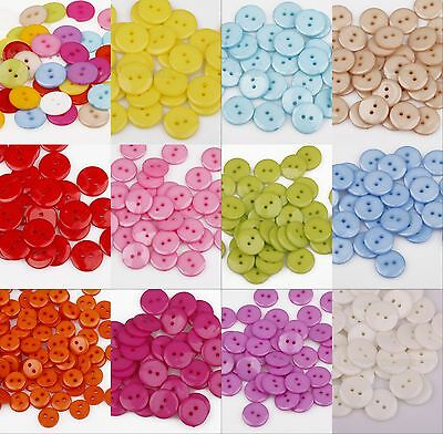 100Pcs Plastic Sewing Round Buttons Scrapbook 15mm 2 Holes For Craft DIY