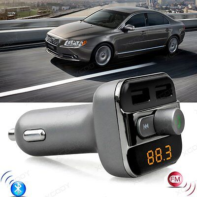 Wireless Bluetooth Car Kit FM Transmitter MP3 Player Dual USB Charger For Phone