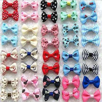 Bows Ties Hair Collar Lead Clip Dog Puppy Cat Pet Summer Gift Grooming Present