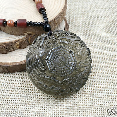 Hand-Carved Dragon-Phoenix Tai Ji Natural Black Obsidian Jade Pendant Necklace