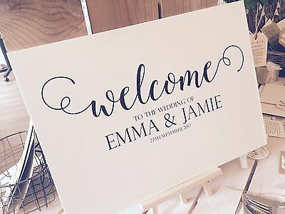 Vintage/Rustic Personalised A3 'Welcome to the wedding of' sign- backed/unbacked