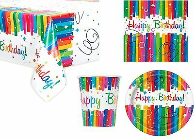 Happy Birthday Party Tableware Rainbow Ribbons Napkins Plates Cups Tablecover
