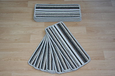14 Beige Striped Open Plan Carpet Stair Treads Bolero Sliver Pads 14 Large Pads!