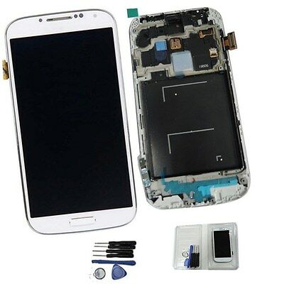 New White Samsung Galaxy S4 i9505 LCD With Frame Screen Replacement Digitizer