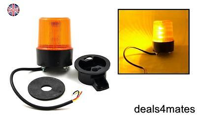 Led Spinning Flash Amber Orange Warning Signal Beacon Light Lamp Truck Lorry