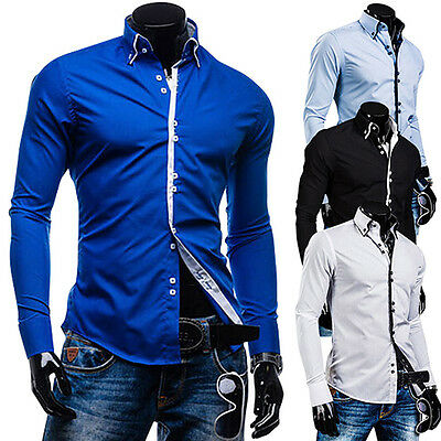Men's Fashion Luxury Solid Fit Long Sleeve Casual Dress Shirts Blouse Tops Tee