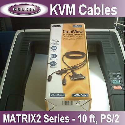 NEW Belkin OmniView KVM Cable for MATRIX2 Series, 10 Ft., PS/2 (F1D9300-06)