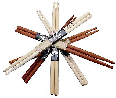Johnny Brook Wooden Drum Sticks Maple Hickory Oak 5A 5B 7A Musical Instrument