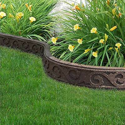 Outdoor Garden Recycled Rubber Edging - Flexi Curve Scroll 1.22m Lawn Border