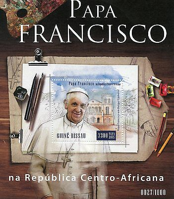 Guinea-Bissau 2015 MNH Pope Francis in Central African Rep 1v S/S Popes Stamps