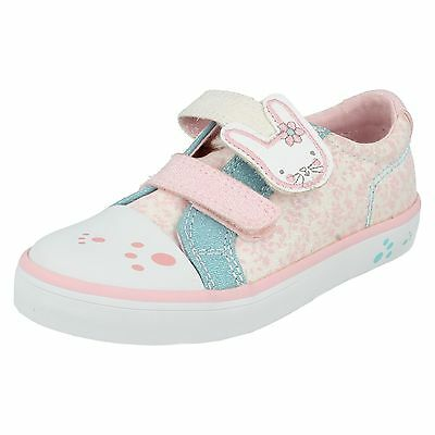 Girls Clarks Gracie Bea Hook & Loop Infant Canvas Trainers Toe Cap Shoes Size