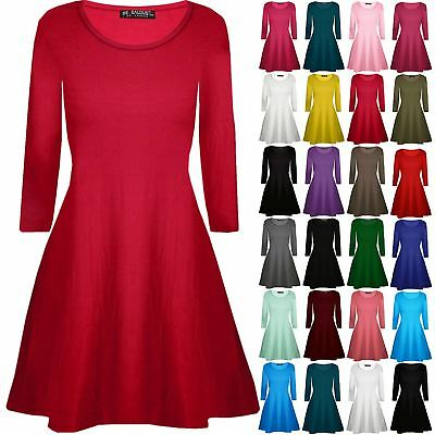 Kids Childrens Plain Long Sleeve Stretchy A Line Skater Girls Swing Dress Top