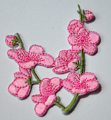 PINK BLOSSOM CHERRY FLOWER  Embroidered Iron Sew On Cloth Patch Badge  APPLIQUE