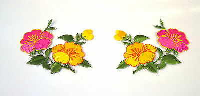 2X PINK  & YELLOW FLOWERS  Embroidered Iron Sew On Cloth Patch Badge  APPLIQUE