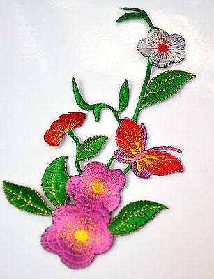 PINK FLOWERS & RED BUTTERFLY Embroidered Iron Sew On Cloth Patch Badge APPLIQUE