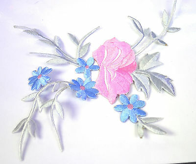 PINK + BLUE FLOWERS & FOLIAGE Embroidered Iron Sew On Cloth Patch Badge APPLIQUE