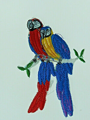 MACAW PARROT BIRD SCARLET  Embroidered Iron Sew On Cloth Patch Badge APPLIQUE