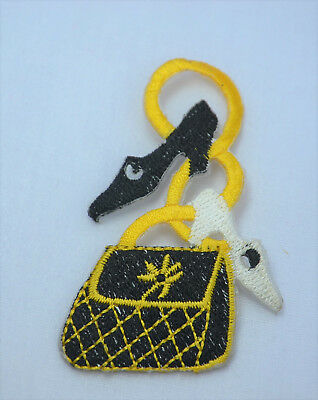 BLACK GOLD HANDBAG & SHOES Embroidered Iron Sew On Cloth Patch Badge APPLIQUE