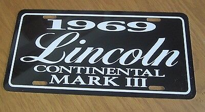 1969 Lincoln Continental MARK III License plate tag 69 Mark 3 Three