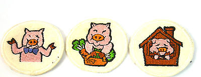 3 THREE LITTLE PIGS PIGGY   Embroidered Sew On Cloth Patch Badge  APPLIQUE