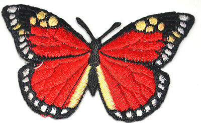BUTTERFLY RED ADMIRAL MOTH  Embroidered Iron Sew On Cloth Patch Badge  APPLIQUE