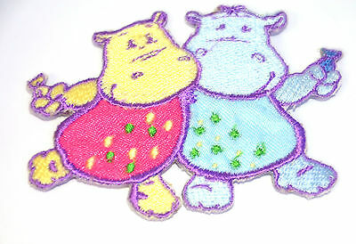 HIPPO BIRTHDAY PARTY   Embroidered Iron Sew On Cloth Patch Badge  APPLIQUE
