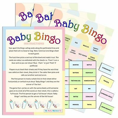 BABY SHOWER GAME - Bingo 20 Sheet/Player, Neutral (Boy Girl) UK Party Version