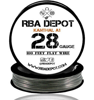 RBA Depot Flattened Kanthal 28 Gauge AWG A1 Wire 100 ft Roll Flat Ribbon