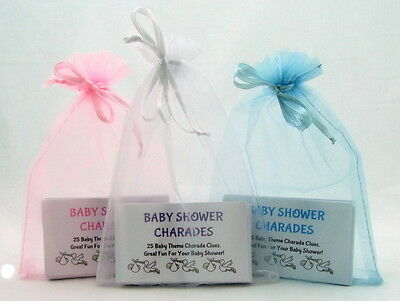 CHARADES-Baby Shower Party Game - Blue - Pink - White 25 GAME CARDS & GREAT FUN